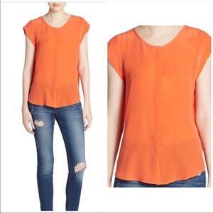 JOIE | Orange Front Button Cap Sleeve Blouse Sz. M